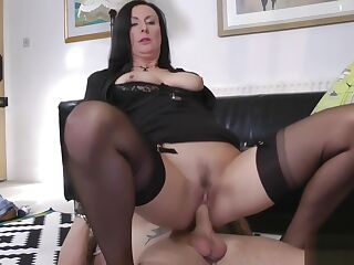 Stockings mature jizzed