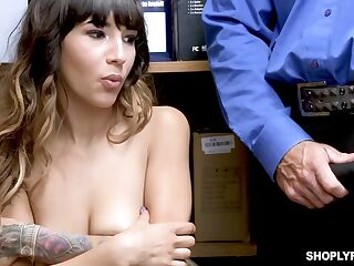 Petite chick, Kitty Carrera is about to get nailed in the storage room and get a facial