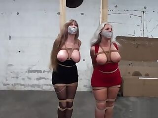 Busty Silver Fox and Friend Tied up