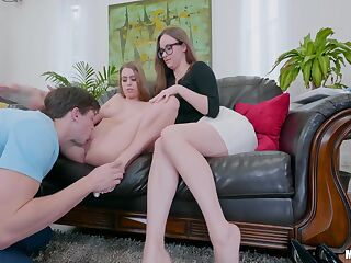 Nerdy Jay Taylor and her GF Jill Kassidy share one hard ad big penis