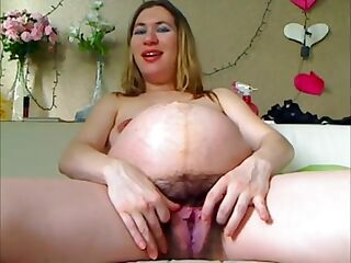 Pregnant Russian HUGE!!! Hairy Pussy Skype Show Webcam