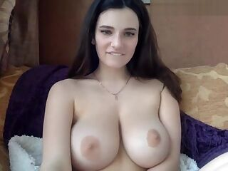 Beautiful Busty Brunette with Perfect Body Masturbates in Solo