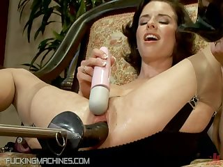 Brunette MILF Squirts To a Fucking Machine and Vibrator