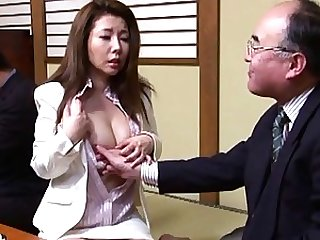 Sakiko Mihara's tits get touched by some mature japanese men