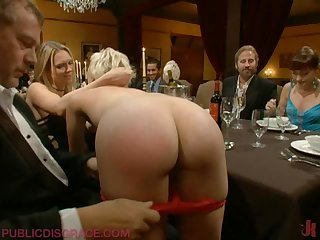 Sexy Blonde Shows Her Hot Ass As She Gets Pounded On A Dinner Table