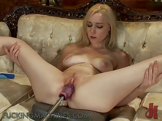 Horny Blonde Shows Of Her Natural Tits While Using A Fucking Machine