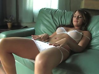 Cute Brunette In White Lingerie Bella Cole Fingering Her Wet Pussy