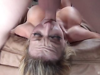 Big dick down the throat of a whore that gags all over it