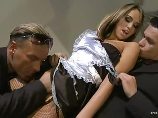 Horny Maid In Fishnet Stockings Getting Anal Sex In Threesome