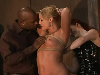Big Black Cock Fucks His Blonde Tied Up Slave In The Ass