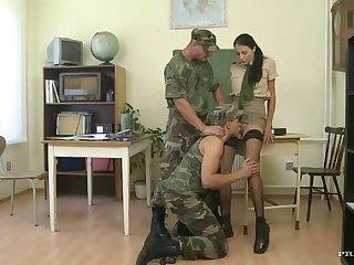 Wild Bisexual Threesome In The Military