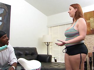 Milky white redheaded BBW fucking black cock and cumming hard