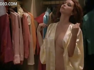 Sensual Heather Vandeven Stripping in a Dressing Room