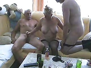 Blonde Granny In Stockings Has a Threesome With Two Bisexual Old Men
