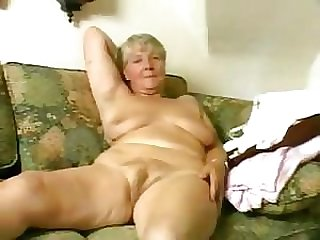 Blonde Granny Fucks Her Hairy Beefy Lipped Pussy With a Dildo