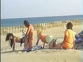 Babes Get Fucked and Facialized in Voyeur Orgy At the Beach - Retro Porn