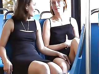 Horny Lesbians Touching In The Public Bus