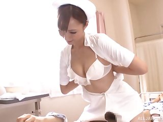 Naughty nurse jerks off his dick and rides it