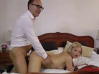 Pleated miniskirt babe fucks the guy three times her age