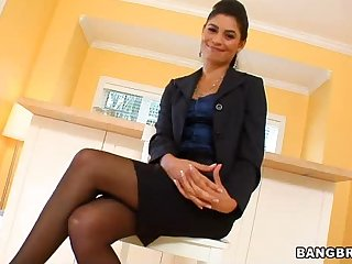 Hot Latina Realtor Masturbates in the Living Room