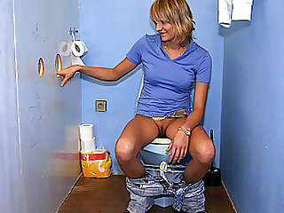 Blonde Babe Thanks God For Bathrooms With Glory Holes