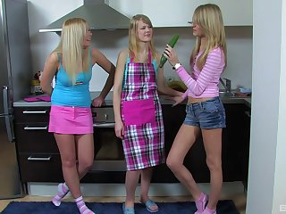 Cucumber is all that these petite teens need to reach the climax