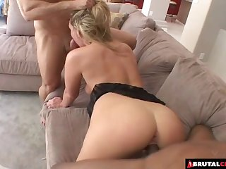 Guys take turns fucking the butt of a hot blonde chick