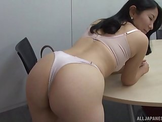 Cardigan milf strips for an erotic Japanese fuck