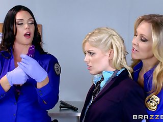 Hot ass babes in uniform get in a fetish licking toying and fingering scene in a close up shoot