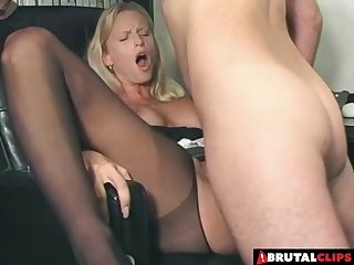 Secretary slut bent over her desk and fucked up the ass