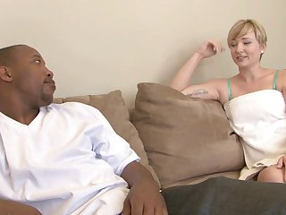 Nora is the short-haired blonde who needs an interracial experience