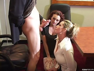 Office threesome with babes who are ready to suck the dick