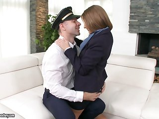 Pilot feeds his cock to a hot airline attendant during a layover