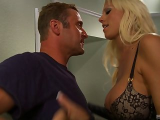 Hot blonde in sexy leather boots loves his big dick
