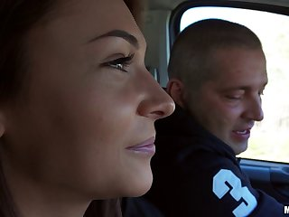 Cute Euro girl gets slutty in the car sucking dick and fucking