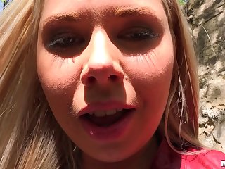 Super cute Russian blonde girl gets fucked outdoors