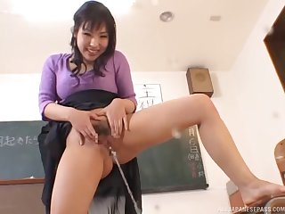 When class is over this Asian teacher gets fingered by a student