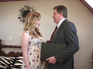 Old businessman and a super cute British chick fucking
