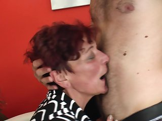 Nerdy college guy seduces a hot redhead and fucks her