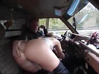 German MILF sucks cock in a car with voyeurs_240p