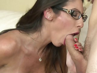 Milf babe in sexy glasses fucking his cock to her orgasm