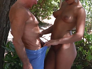 Manly endowed old bastard drill in ass his tanned young vixen