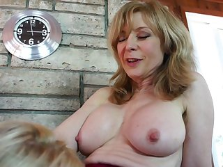 Gloved finger fucking of a sexy lesbian cunt by a milf