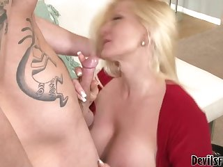 Sexy Blonde Step Mom Fucks Her Hubby's Stud Of A Son