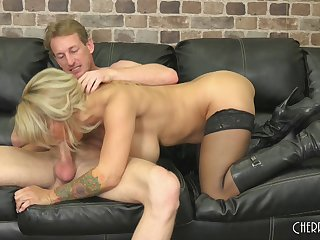Breathtaking blonde with humongous tits banged hard on the comfy bed