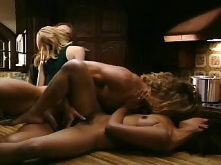 Two long-haired studs fuck their cute GFs on a table