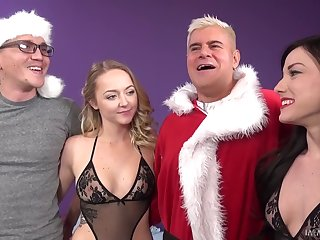 Ravishing babes are happy to give some handjobs as Christmas presents