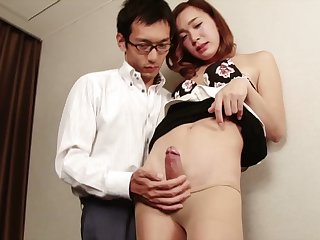 Skinny and smoking hot Japanese tranny babe gets ass fucked